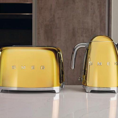 Новинка! Чайник і тостер. Золотистий колір. Smeg, Італія