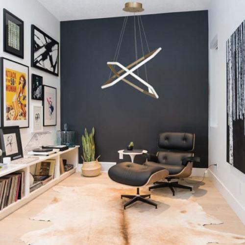 Люстра потолочная, светодиодная, ассиметричная в стиле минимализм