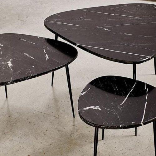 фото Столики кавові. Металевий каркас, стільниця з натурального каменю. Колекція Axio, Бельгія