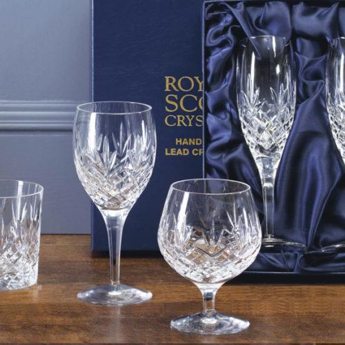 Бокалы для виски, коньяка, вина, шампанского. Хрусталь Royal Scott, Великобритания
