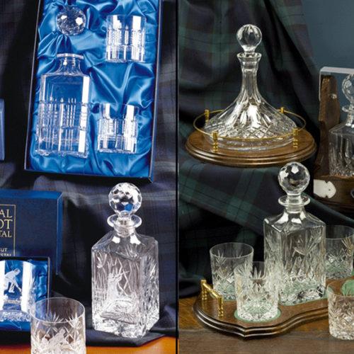 Графин и стаканы для виски или коньяка. Хрусталь Royal Scott, Великобритания