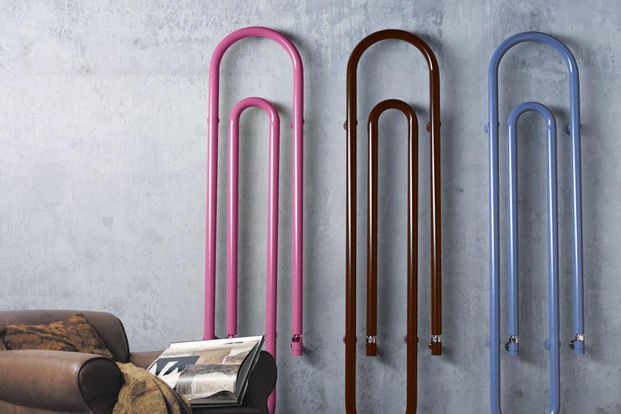 Фото Полотенцесушитель водяной. Сталь, окрашенная в разные цвета. Ветикальная или горизонтальная установка. Коллекция GRAFFE, Италия