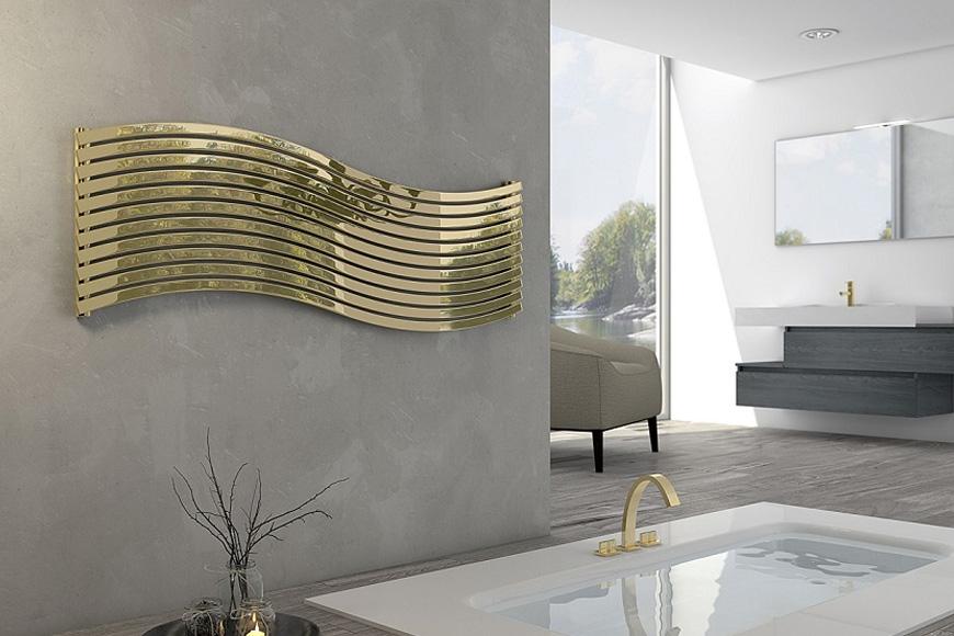 Фото Радиатор дизайнерский в современном стиле золотого цвета. Коллекция LOLA , Италия