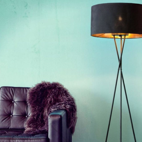 Фото Торшер с абажуром. Металл, ткань. Высота 151см. Включение-выключение ногой. Коллекция FONDACHELLI, Австрия