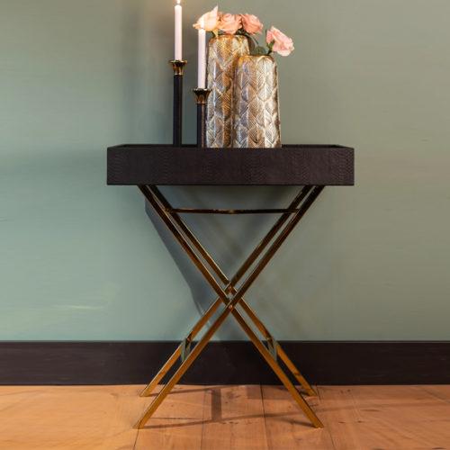 Фото Столик журнальный-трансформер, со съемной столешницей. Металл, экокожа. Коллекция Buster, Голландия