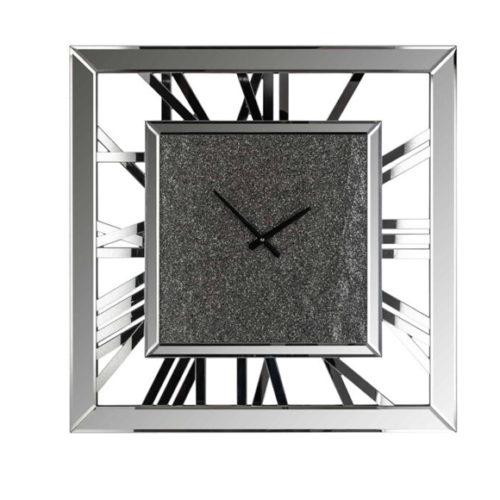 Годинник настінний. Метал, дзеркальний декор з глітером. Розмір 70х70. Колекція Chasin, Голландія