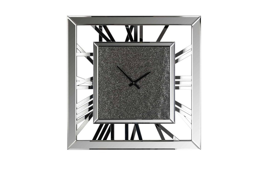 Фото Часы настенные. Металл, зеркальный декор с глиттером. Размер 70х70. Коллекция Chasin, Голландия