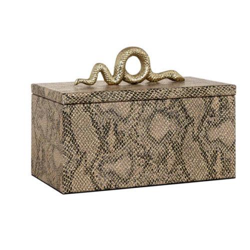 Шкатулка для коштовностей. Декор під шкіру змії, ручка у вигляді металевої змії. Колекція Ruby, Голландія