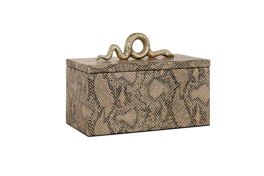 Фото Шкатулка для драгоценностей. Декор под кожу змеи, ручка в виде металлической змеи. Коллекция Ruby, Голландия