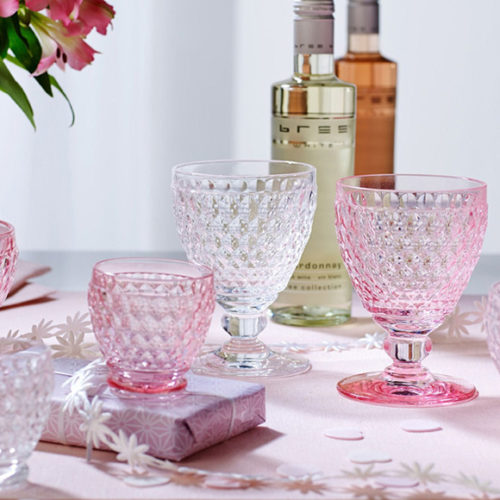 Бокал для воды, вина, шампанского. Цветное стекло розового цвета. Коллекция Boston. Villeroy&Boch, Германия