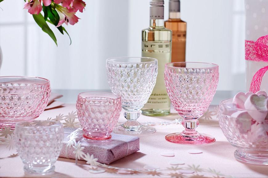 Фото Бокал для воды, вина, шампанского. Цветное стекло розового цвета. Коллекция Boston. Villeroy&Boch, Германия