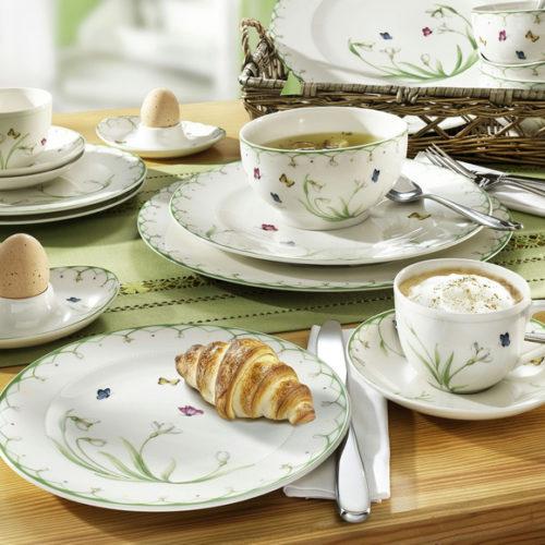 Фарфор премиум класса. Ассортимент включает столовый и чайный сервизы, блюда, тарелки, салатники. Коллекция Colorful Spring Villeroy&Boch, Германия