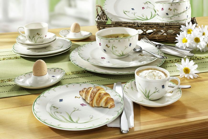 Фото Фарфор премиум класса. Ассортимент включает столовый и чайный сервизы, блюда, тарелки, салатники. Коллекция Colorful Spring Villeroy&Boch, Германия