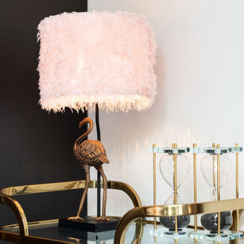 Лампа настольная в виде фигуры фламинго. Полимерный камень, текстильный абажур. Коллекция Faido, Голландия
