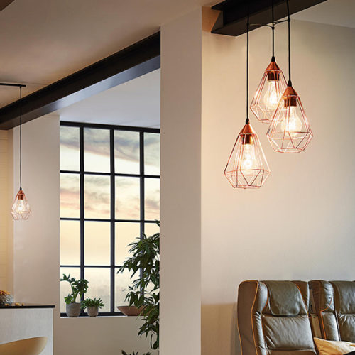 Подвесной светильник. Металл, прозрачное стекло