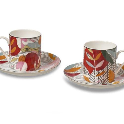 фото Набор для кофе. 2 кофейные чашки и 2 блюдца. Фарфор. Коллекция Sketch Henriette, Италия