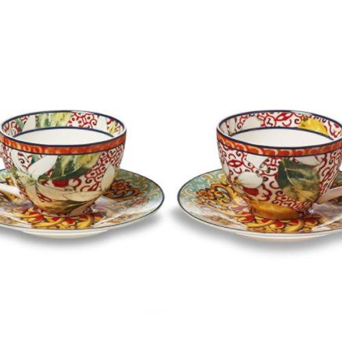 фото Набор кофейный. 2 чашки и 2 блюдца. Фарфор. Коллекция Taormina Henriette, Итали
