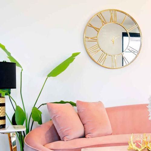 Годинники настінні, круглі з римськими цифрами. Метал, дзеркальний циферблат. Діаметр 76 см. Колекція Greyson, Голландія