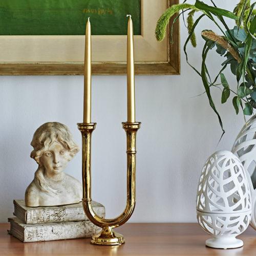 Подсвечник на две свечи. Покрытие позолотой. Коллекция Luх Henriette, Италия