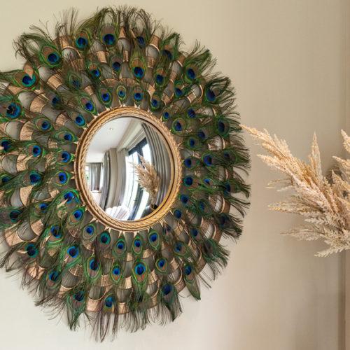 Дзеркало настінне. Діаметр 83см. Метал, натуральне перо павича. Колекція Macynn, Голландія