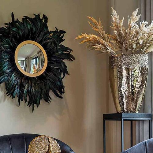 Дзеркало настінне дизайнерське. Метал, натуральне перо. Діаметр 70см. Колекція Madlen, Голландія