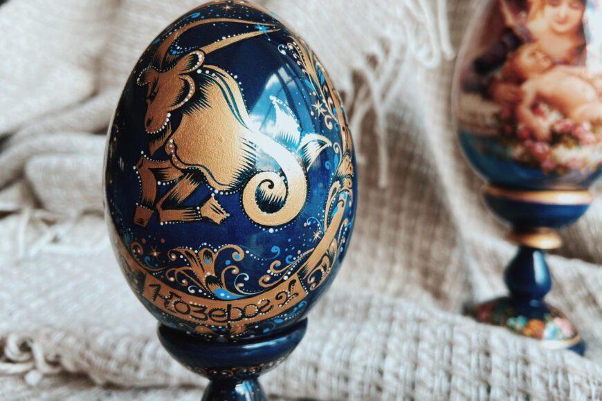 Яйцо декоративное. Знаки зодиака. Дерево липа, масло. Ручная работа. Мастерская раритетов Монаховой