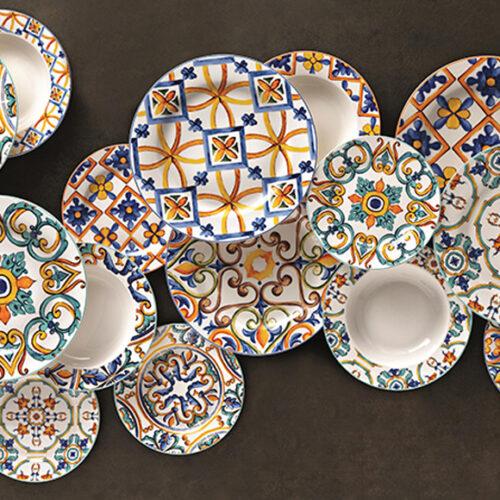 Фарфор расписной. Тарелки, блюда, салатники. Стаканы из цветного секла. Brandani, Италия