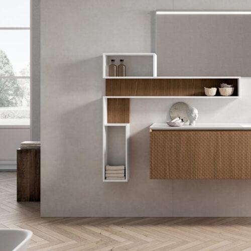 Мебель для ванной комнаты в современном стиле. Натуральное дерево. Столешница из искусственного камня с интегрированной раковиной. Коллекция Ikon, Италия