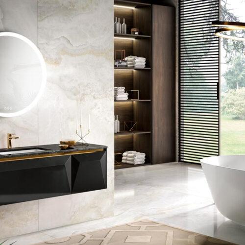 Мебель для ванной комнаты премиум класса. Натуральное дерево, мрамор. Коллекция KOS, Италия