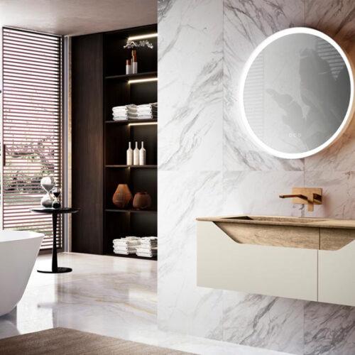 Мебель для ванной комнаты в современном стиле. Натуральное дерево, мрамор. Коллекция SCILLY, Италия