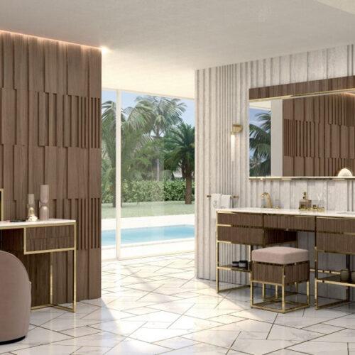 Мебель для ванной комнаты класса премиум. Натуральное дерево, мрамор, позолота. Коллекция Academy Ribbed Walnut, Италия