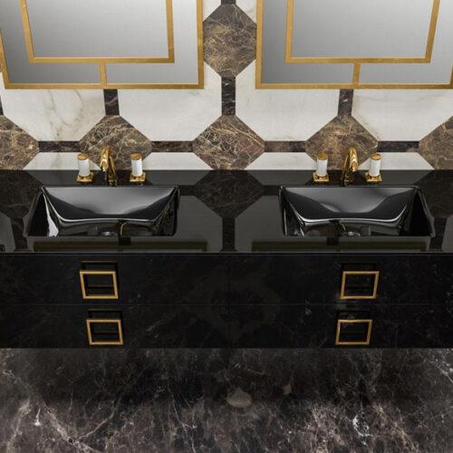 Меблі для ванної кімнати класу преміум. Натуральне дерево, мармур, позолота. Колекція Daphne, Італія