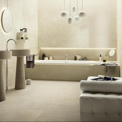 Плитка керамическая в классическом стиле. Песочный цвет. Коллекция Вistrot marfil glossy, Италия