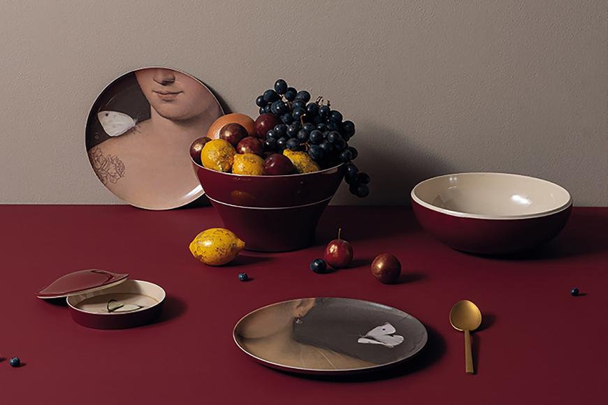 Сервиз из меламина. Блюда гармонично складываются друг в друга и превращаются в вазу. Количество предметов 8 шт. Коллекция Ibride Eden, Франция