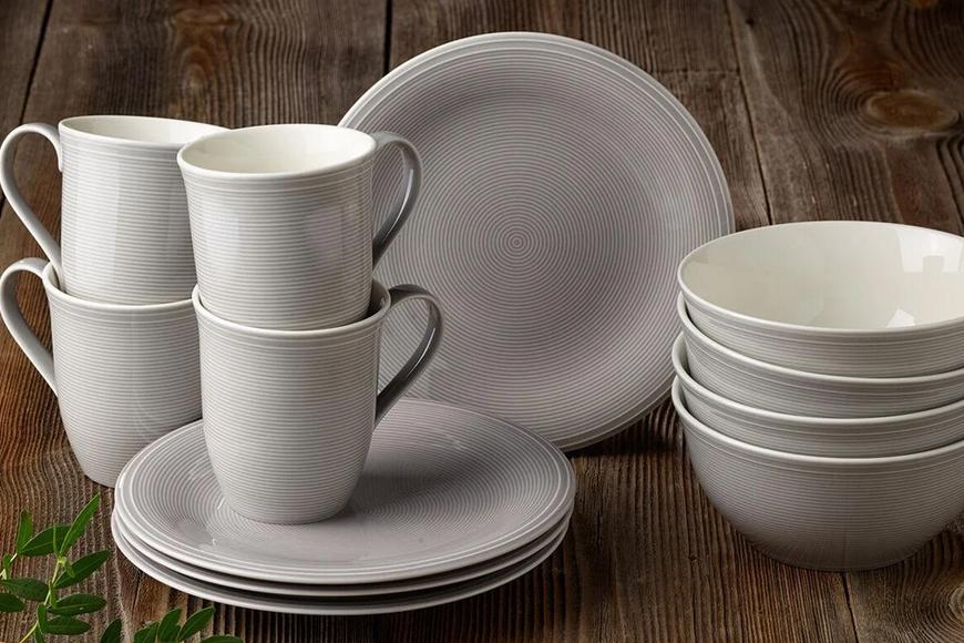 Фарфор премиум класса Villeroy&Boch. Тарелки, пиалы, чашки в сером и песочном цветах. Коллекция Color Loop, Германия