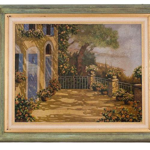 Картина в деревянной раме из сосны. Фотопечать на дереве. Детали прорисованы маслом. Репродукция картины Гвидо Борели. Toscana, Италия