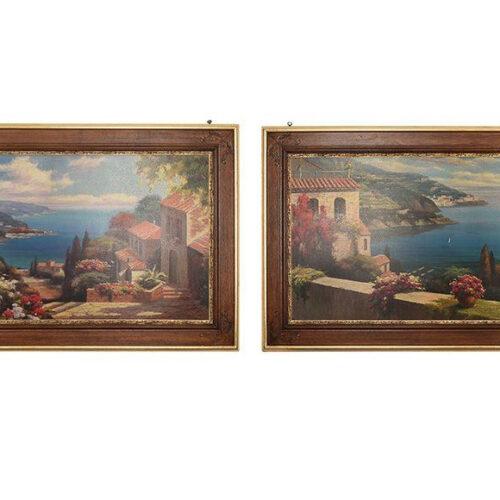 Набор из 2 картин. Рама из натурального дерева с тонкой резьбой и декором из сусального золота. Высокоточный принт, с ручной прорисовкой деталей. Toscana, Италия