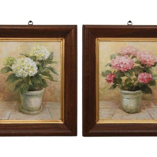 Набор из 2 картин с гортензией в цветочных горшках. Дерево, фотопечать, прорисовка маслом. Toscana, Италия