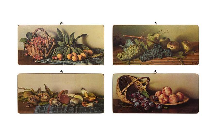 Набор из 4 картин. Натюрморт с фруктами и грибами. Фотопечать на дереве. Toscana, Италия